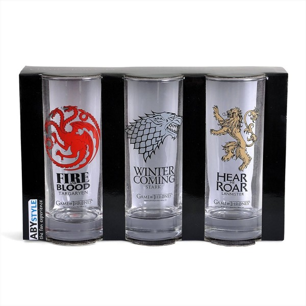 GAME OF THRONES - 3er Gläser Set  Wappen Haus Targaryen Stark Lannister