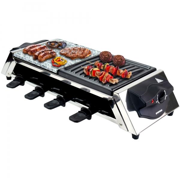 Elektro Raclette mit Heißem Stein, 8 Pfännchen Genf
