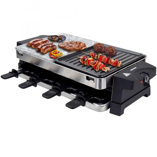 Elektro Raclette Tischgrill Grill Grillplatte Heißer Stein mit 8 Pfännchen 1500W