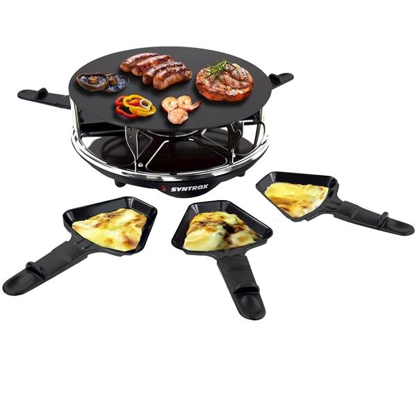 Elektro Raclette Tischgrill Grill Grillplatte mit 6 Pfännchen
