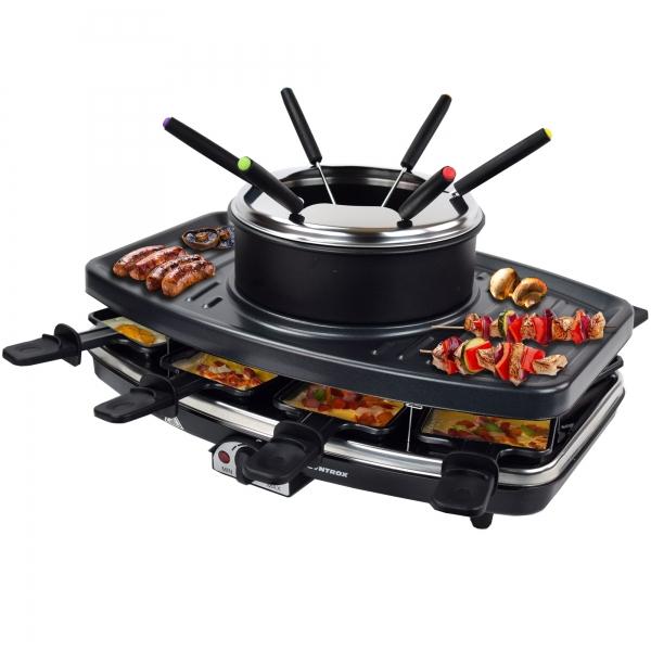 Elektro Raclette Tischgrill Grill Grillplatte Fondue 8 Pfännchen 1100 Watt