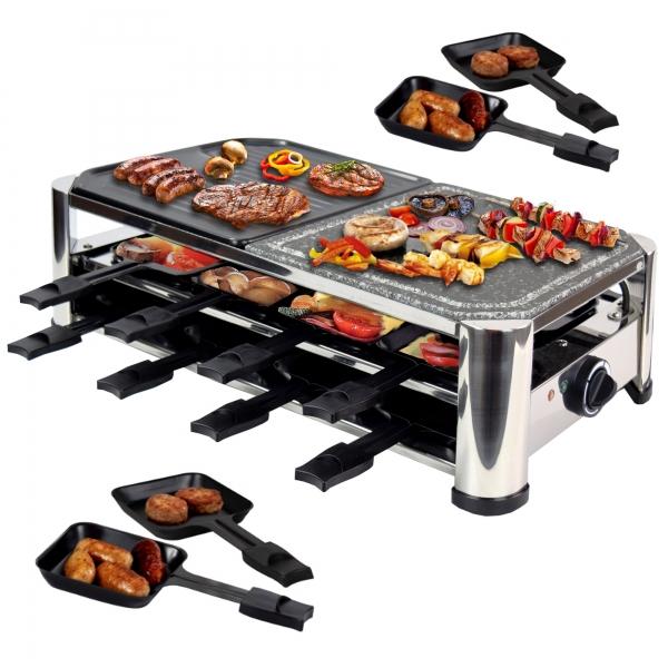 Elektro Raclette Tischgrill Grill Grillplatte Heißer Stein mit 16 Pfännchen