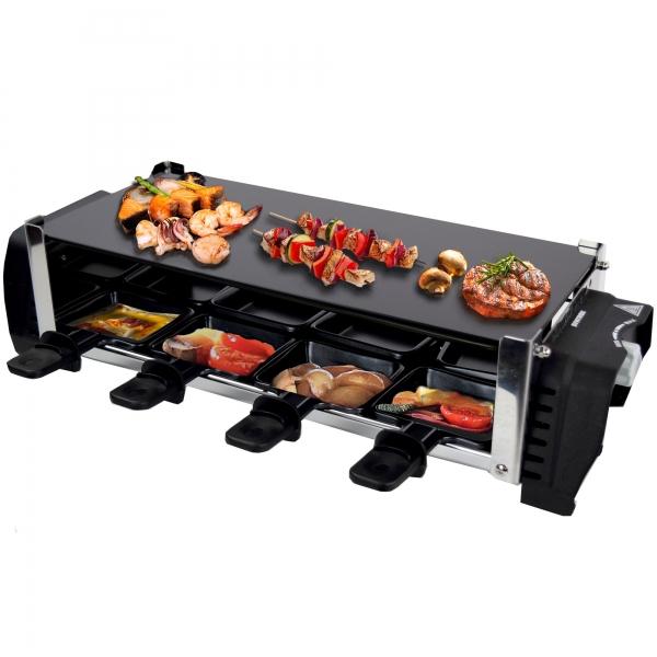 Elektro Raclette Tischgrill Grill Grillplatte mit 8 Pfännchen 1200W