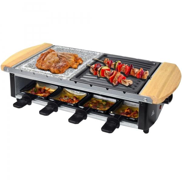 Elektro Raclette Tischgrill Grill Grillplatte Heißer Stein mit 8 Pfännchen 1200W