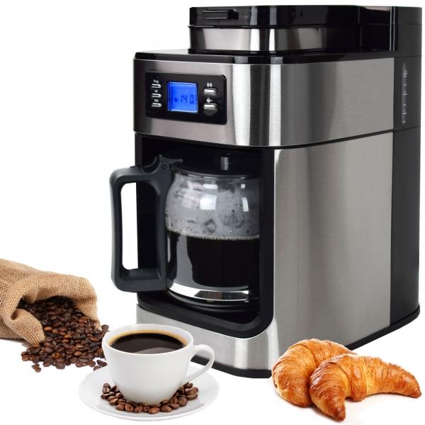 Edelstahl Kaffeemaschine Kaffeeautomat mit Mahlwerk und Timer