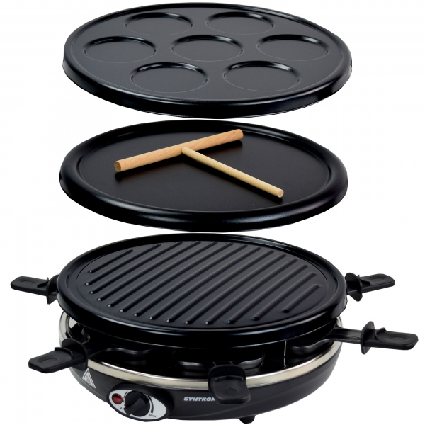 Elektro Raclette Tischgrill Pfannkuchen Pancakemaker Grill Grillplatte Crepes