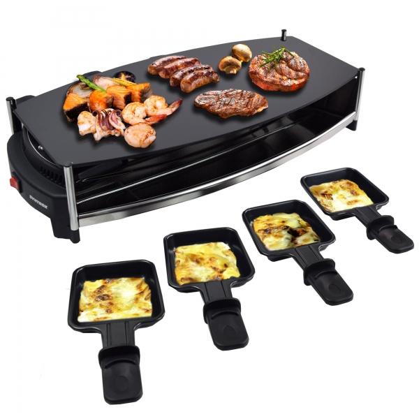 Elektro Raclette Tischgrill Grill Grillplatte Glasplatte mit 8 Pfännchen