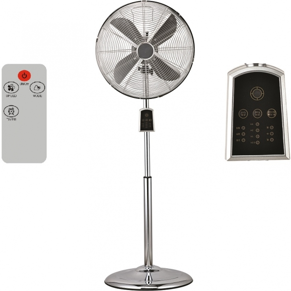 Standventilator Tischventilator Chrome Retro mit Fernbedienung 60 Watt leise