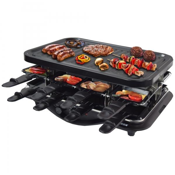 Elektro Raclette Tischgrill Grill Grillplatte mit 16 Pfännchen 1600 Watt